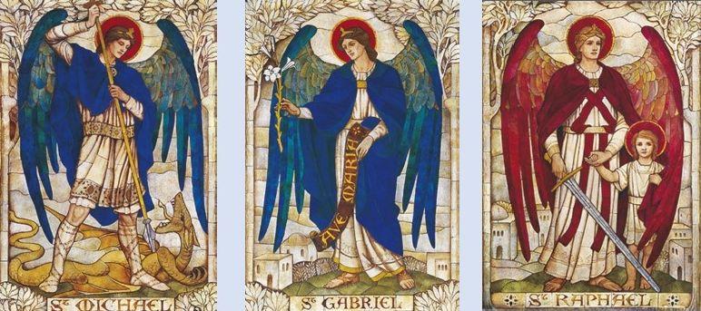 Extrait de la mosaïque des archanges dans l'église St John's Church, Boreham, Wiltshire