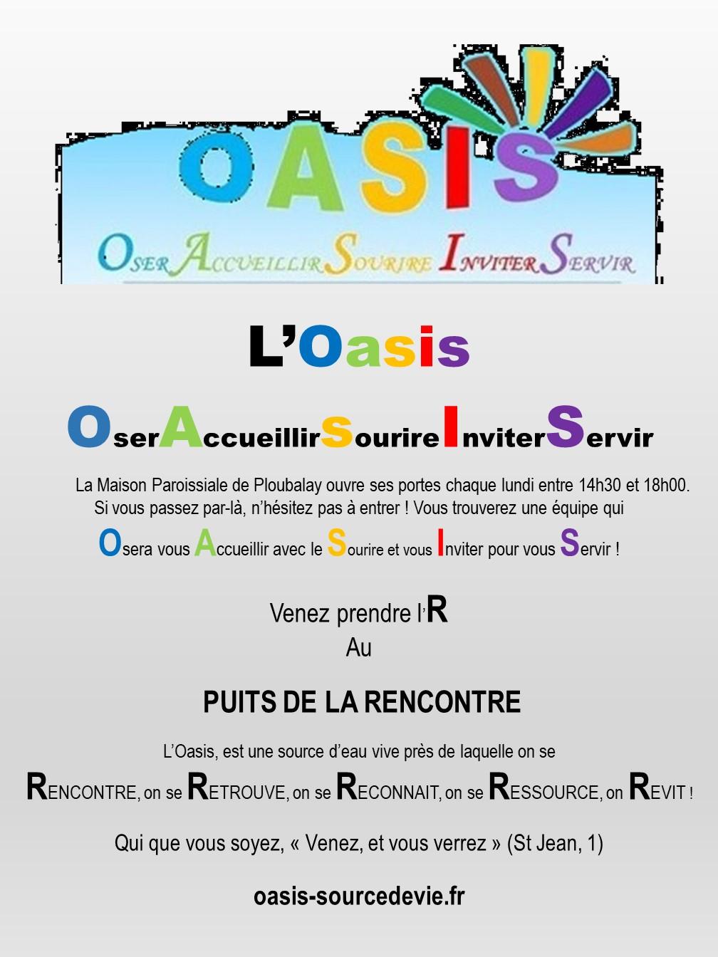 L'OASIS Oser Accueillir Sourire Inviter Servir